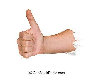 perforación, thru, papel, mano