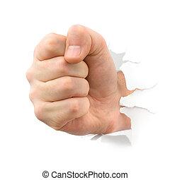 perforación, thru, papel, puño