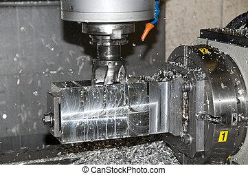 perforación, y, se apiñar, cnc, en, taller