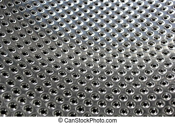 Perforated bright metal ,close up image
