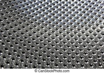 Perforated bright metal ,close up image