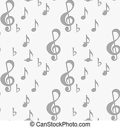Perforated G clef and music notes