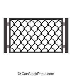 Perforated gate icon, cartoon style
