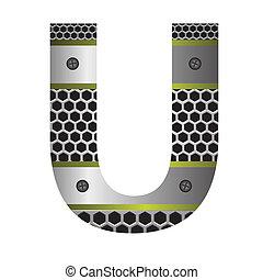 perforated metal letter U