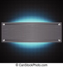 Perforated technological background with blue laser light...