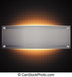 Perforated technological background with orange light behind...