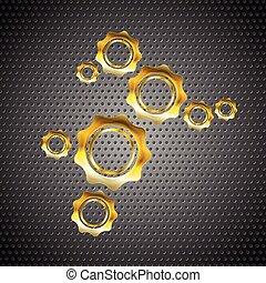 perforato, dorato, metallo, ingranaggi, fondo