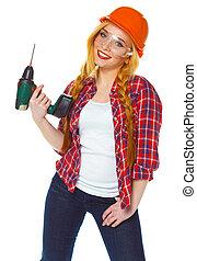 perforator, ヘルメット, 建築作業員, 女性