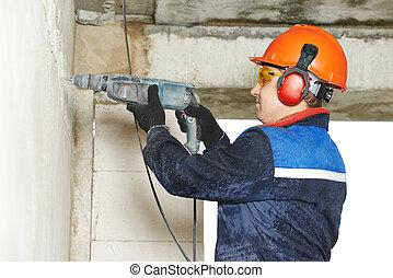 perforator, 電気技師, 労働者, ドリル