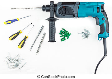 Perforator and screwdriver with screws