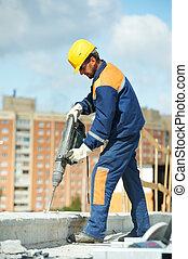 perforator, verticaal, de arbeider van de bouw
