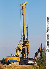 perforazione, macchinario costruzione, su, uno, luogo...