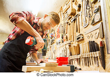 perforazione, officina, carpentiere, trapano, asse