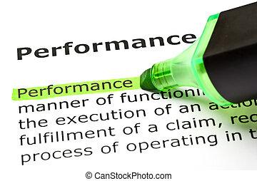 'performance', aangepunt, in, groene