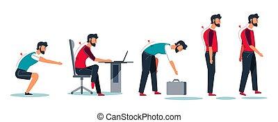 performance, attitude, exercice, incorrect, position, mal, sport, séance