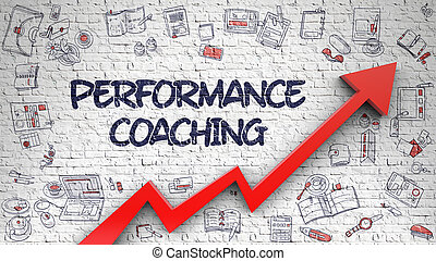 Performance Coaching Drawn on White Brick Wall. 3d.