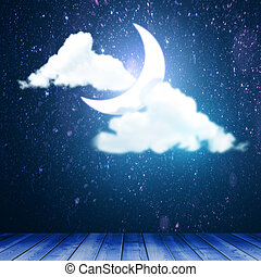 Performance concept - Abstract stage with clouds and moon....