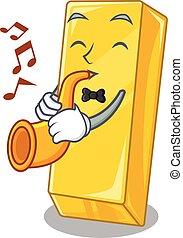 performance, dessin animé, style, trompette, barre, caractère, or