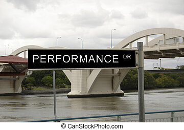 performance drive - street sign overlaid with a business...