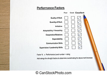 Performance evaluation survey concept - many uses for human resources evualtion for merit increase or promotion.