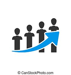 Performance icon in flat style. Career vector illustration on white isolated background. People with arrow business concept.