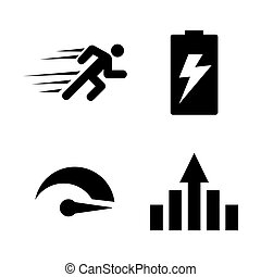 Performance, Improvement. Simple Related Vector Icons