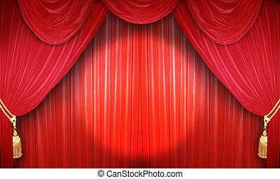 Performance in the theater - Red curtain of a classical...