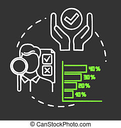 Performance indicator chalk RGB color concept icon. Report and metric. Metrics for evaluation. Corporate management idea. Vector isolated chalkboard illustration on black background