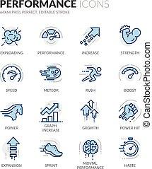 performance, ligne, icônes