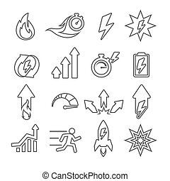 Performance line vector icons set