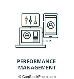 Performance management vector line icon, linear concept, outline sign, symbol