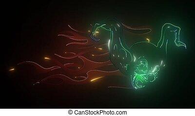 performance, nuit, néon, rigolote, signe., signe, figure, ...