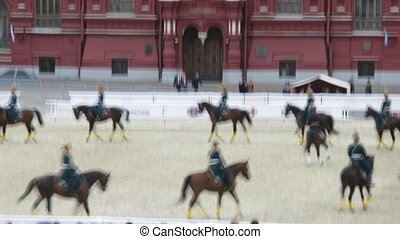 Performance of equestrians of Kremlin school of riding on festival SPASSKAYA BASHNYA on Red Square on August 31, 2011 in Moscow, Russia