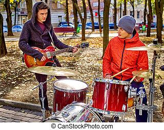 Performance of street musicians