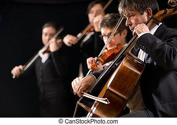 performance, orchestre, ficelle
