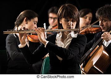 performance:, orchestre, gros plan, symphonie, flûtiste