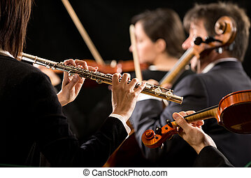performance:, orquesta, primer plano, sinfonía, flautista
