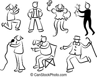 performance people - actors and performers in simple icon...