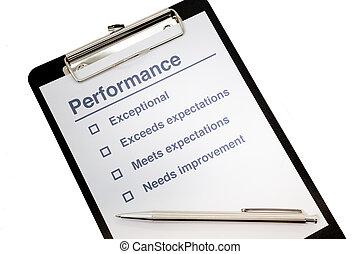 performance, presse-papiers, évaluation
