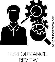 Performance review black glyph icon. Job efficiency assessment, employee effectiveness evaluation silhouette symbol on white space. Workflow productivity optimization. Vector isolated illustration
