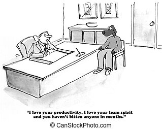 Performance Review - Business cartoon about an outstanding...