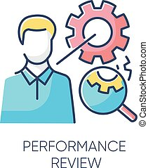 Performance review RGB color icon. Job efficiency assessment, employee effectiveness evaluation. Workflow productivity optimization, professional time management. Isolated vector illustration