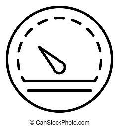 Performance speedometer icon, outline style
