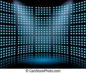 Performance stage with lightbulb glowing backdrop wall. ...
