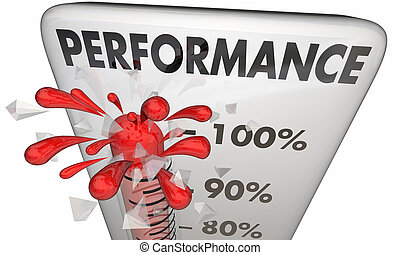 Performance Thermometer Measure Results 100 Percent 3d Illustration