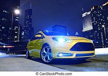 performance, voiture jaune