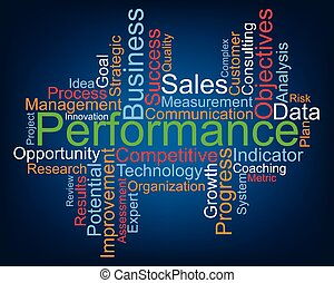 Performance word cloud, vector