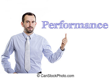 Performance - Young businessman with small beard pointing up in blue shirt