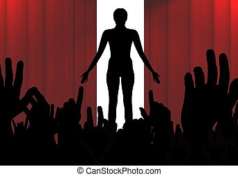 Illustration of a person on stage infront of a crowd
