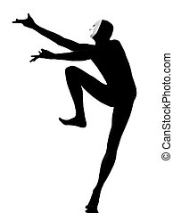 performer mime with mask dancing dancer - performer man mime...